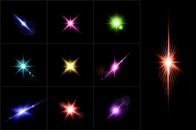 Conjunto de luces de lentes realistas de colección de destellos de lentes coloridos