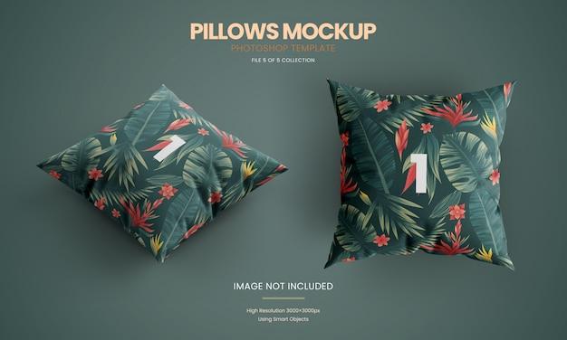 Conjunto de maqueta de almohada en el suelo