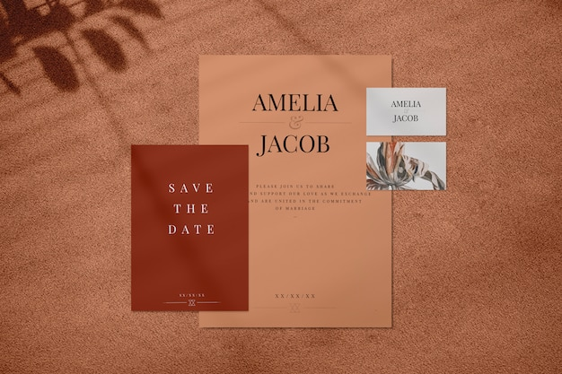 Conjunto de maqueta de invitación de boda marrón