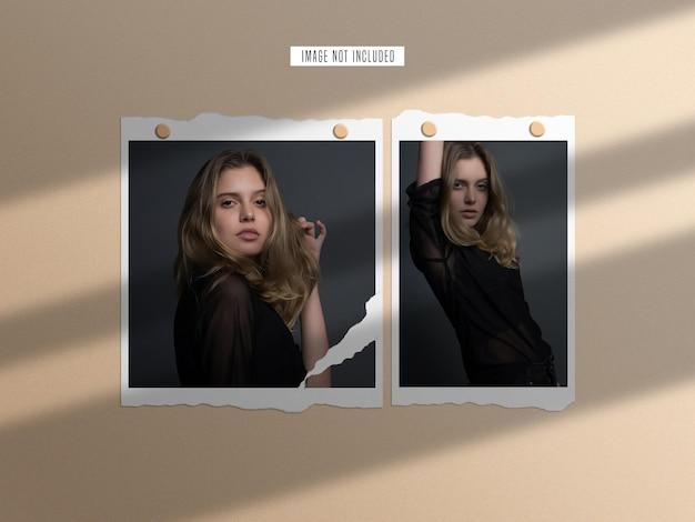 Conjunto de maquetas de marco de fotos de papel rasgado