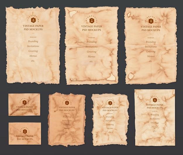 Conjunto de maquetas de papel vintage