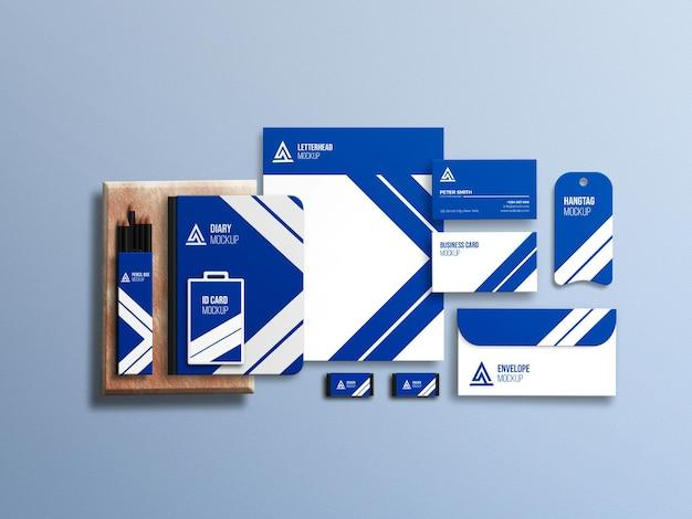 Conjunto de maquetas de papelería corporativa empresarial