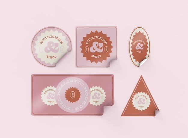 Conjunto de maquetas de pegatinas