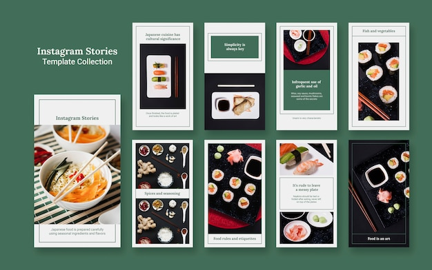 Conjunto de maquetas de stories de instagram