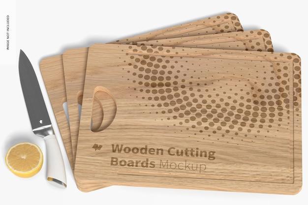 Conjunto de maquetas de tablas de cortar de madera