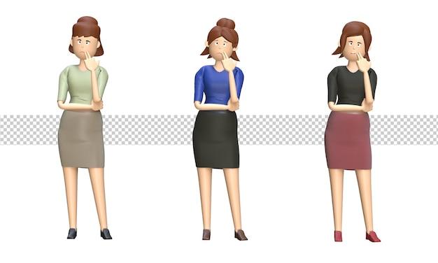 Conjunto de mujer de negocios piensa con la mano en la barbilla ilustración 3d