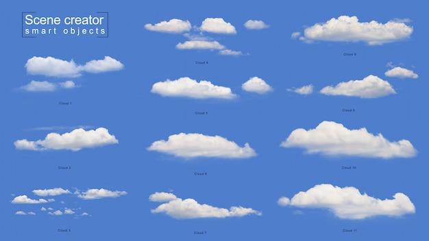 Conjunto de nube blanca realista