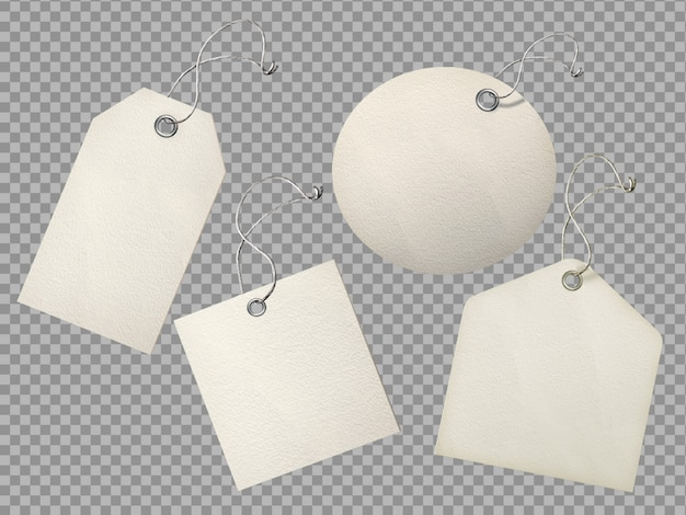 Conjunto de papel con textura realista etiqueta etiqueta en blanco