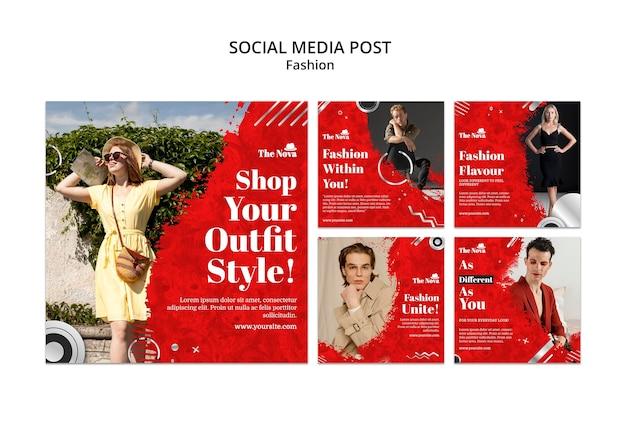 Conjunto de paquete de instagram de moda