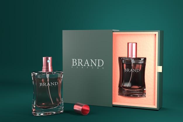 Conjunto de paquete de perfume de maqueta modelo de render 3d para diseño de producto.