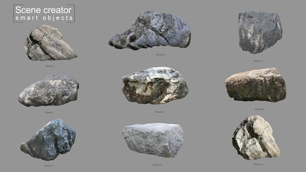 Conjunto de piedra realista