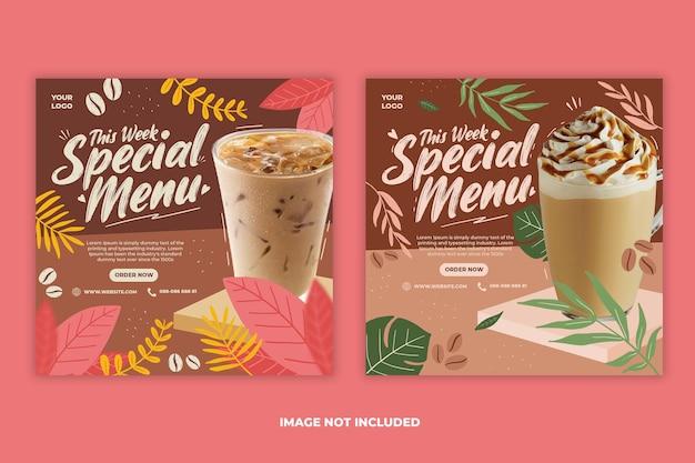 Conjunto de plantillas de banner de publicación de instagram de redes sociales de promoción de menú de bebidas de cafetería