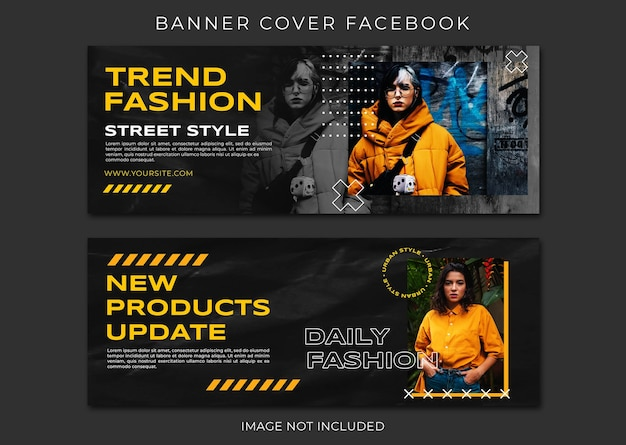 Conjunto de plantillas de facebook de portada de venta de moda de nuevo producto