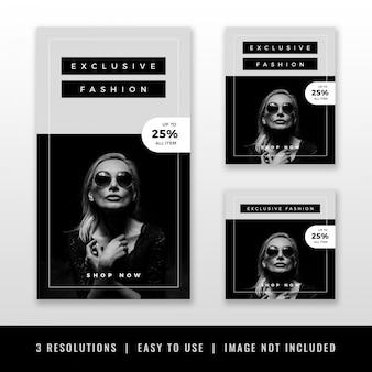 Conjunto de plantillas de historia y banner de instagram blanco negro moderno minimalista de lujo