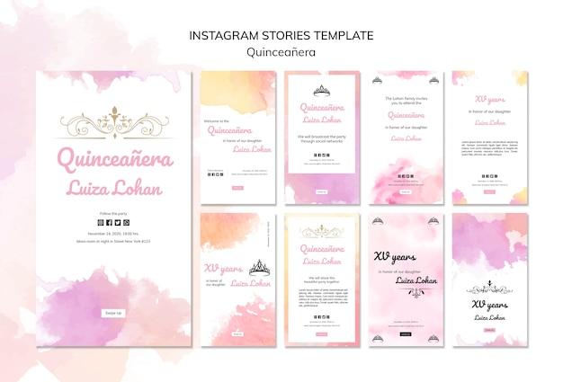 Conjunto de plantillas de historias de instagram de fiesta de quinceañera