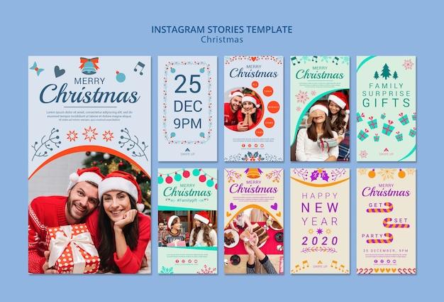 Conjunto de plantillas de historias de instagram de navidad