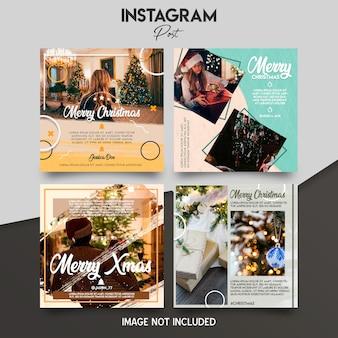 Conjunto de plantillas de instagram de navidad