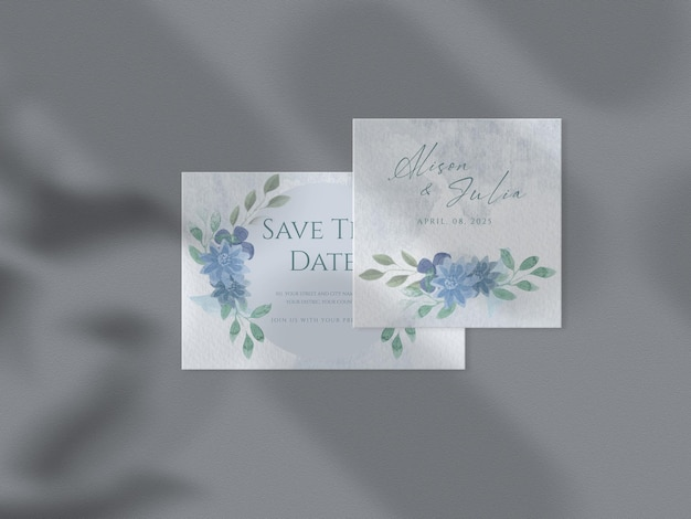 Conjunto de plantillas de invitación de boda floral floral dibujado a mano hojas maqueta de papel de fondo de acuarela