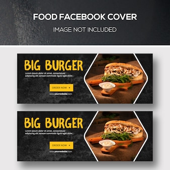 Conjunto de plantillas de portada de facebook de alimentos