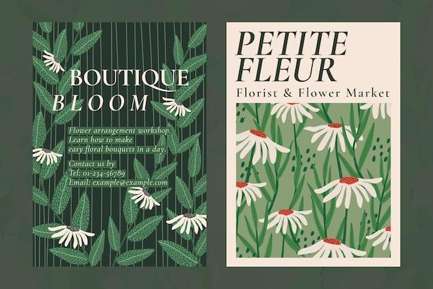 Conjunto de plantillas psd de patrones de flores retro para cartel