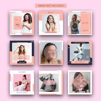 Conjunto de plantillas de publicación de instagram de moda