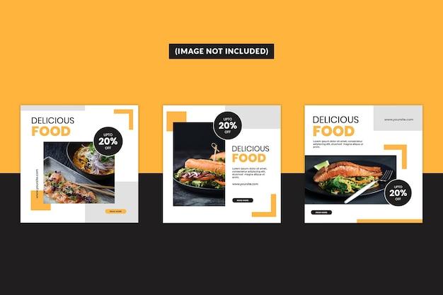 Conjunto de plantillas de publicación de redes sociales de alimentos
