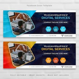 Conjunto de portada de línea de tiempo corporativo de facebook