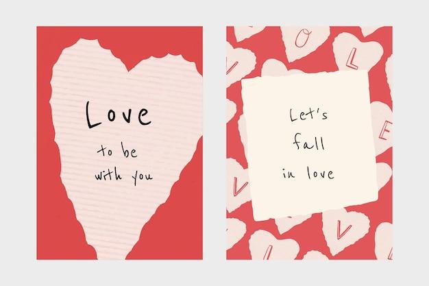 Conjunto de póster psd de plantilla editable de tema de san valentín