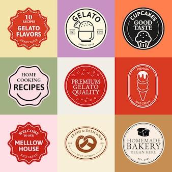 Conjunto de psd de logotipo de empresa de alimentos