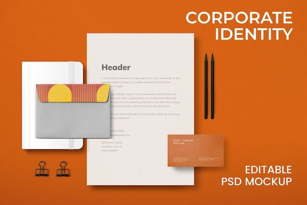 Conjunto de psd de maqueta de identidad corporativa editable para empresas comerciales