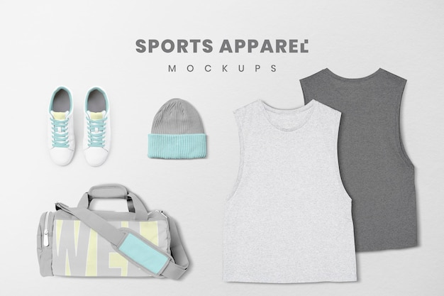 Conjunto de psd de maqueta de ropa deportiva