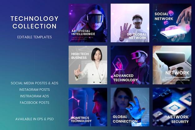 Conjunto de psd de plantilla de banner de tecnología digital