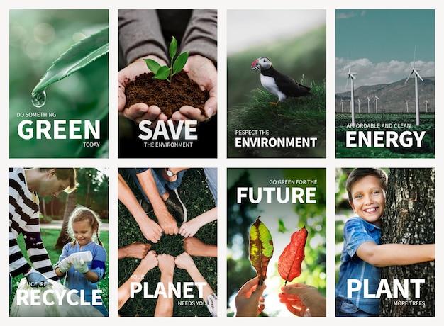 Conjunto de psd de plantilla de cartel editable de medio ambiente