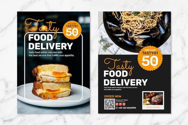 Conjunto de psd de plantilla de cartel de entrega de comida