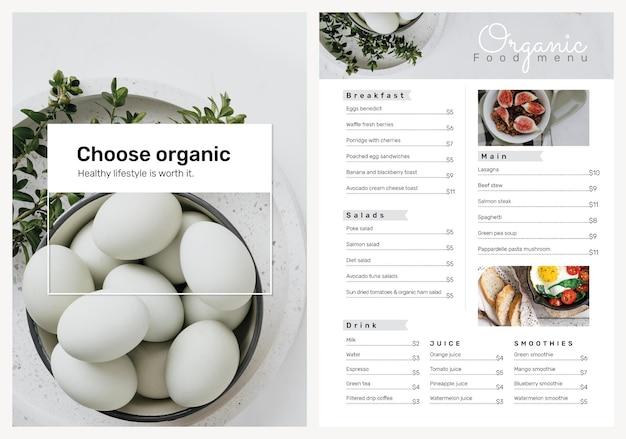 Conjunto de psd de plantilla de cartel de menú orgánico