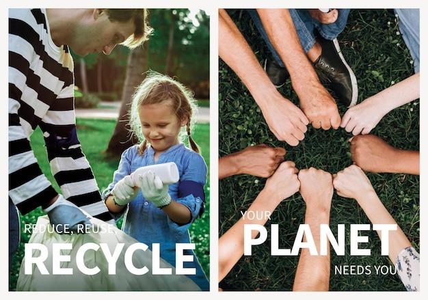 Conjunto de psd de plantilla editable de cartel de medio ambiente