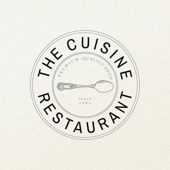 Conjunto de psd de plantilla de insignia vintage de restaurante, remezclado de obras de arte de dominio público