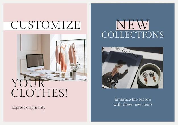 Conjunto de psd de plantilla de negocio de moda ecológica