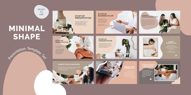 Conjunto de psd de plantilla de presentación de negocios de inicio