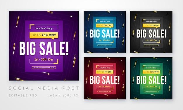 Conjunto de publicación de redes sociales multipropósito para plantilla de ventas