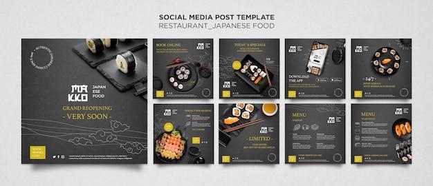 Conjunto de publicación de redes sociales de restaurante de sushi.