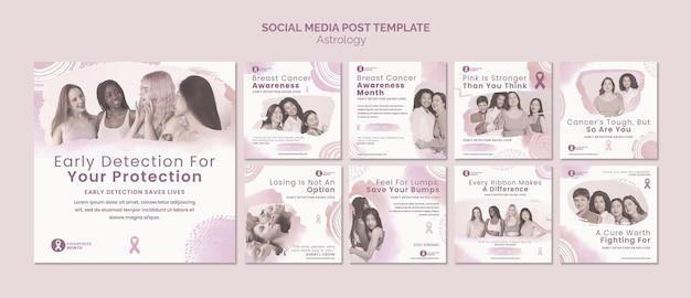 Conjunto de publicaciones de ig del mes de concientización sobre el cáncer de mama