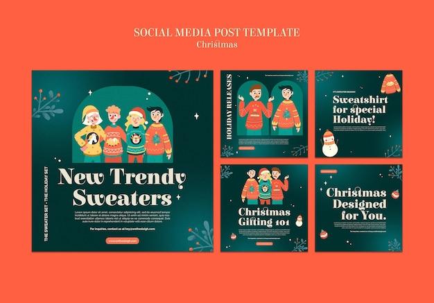Conjunto de publicaciones de ig de temporada de suéter de celebración