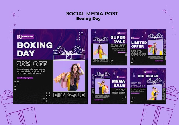 Conjunto de publicaciones de instagram del día del boxeo