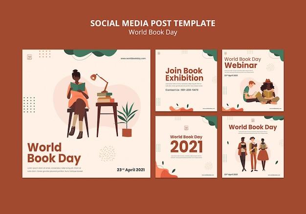 Conjunto de publicaciones de instagram del día mundial del libro