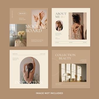 Conjunto de publicaciones de instagram de estilo minimalista