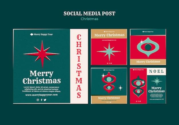 Conjunto de publicaciones de instagram de feliz navidad