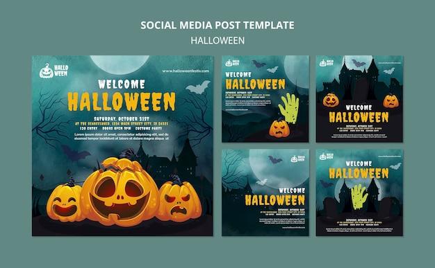 Conjunto de publicaciones de instagram de fiesta de halloween