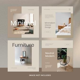 Conjunto de publicaciones de instagram de muebles minimalistas premium psd