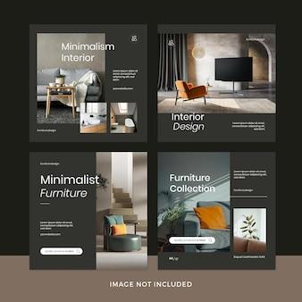 Conjunto de publicaciones de instagram de muebles modernos premium psd